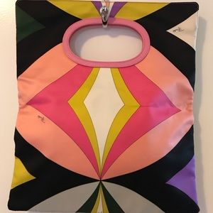 Emilio PUCCI handbag with pink leather handle.